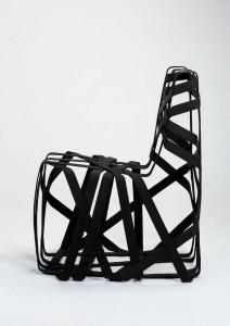 """""""Polyfine"""" von Markus Bangerter (CH): Stuhl mit textilem thermoplastischem Band aus Polypropylen. Foto: Markus Bangerter/Koelnmesse"""