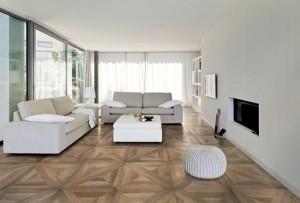 """Elegant und modern: Die Feinsteinzeug-Kollektion """"Mansion"""" in edler Kassettenparkett-Optik. Foto: Ceramiche Refin"""