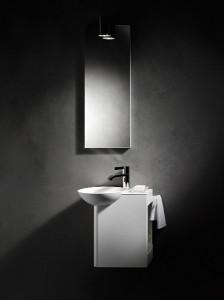 """Die Produktserie """"Insert.storage"""" von Alape nutzt die Hohlkörper aus glasiertem Stahl als zusätzlichen Stauraum. Foto: Alape"""