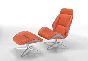 """Spritzig-elegant: Lounge-Drehstuhl und Stuhl """"MBS012"""" ruhen auf einem dreidimensional geformten Holzrahmen. Edel: Der Leder-Bezug. Foto: Formitalia"""