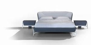 """Für Sternegucker: Das Bett """"MBS044"""" mit Kopfteil und Rahmen in Leder. Foto: Formitalia"""