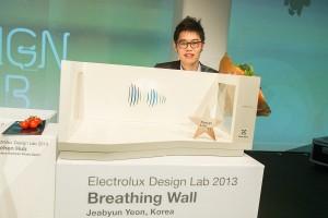 """Den dritten Preis räumte von Jeabyun Yeon aus Korea mit """"Breathing Wall"""", einem in die Wand integriertes Luftreinigungskonzept, ab. Foto: Electrolux"""