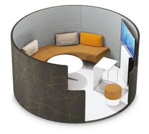 Mit ihren halbhohen Wänden modelliert Toguna Circle einen kreisrunden Raum im Raum, einen Meetingpoint mit Lounge-Charakter. Foto: © Bene AG