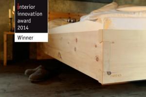 Das Tiroler Zirbenbett von Forcher gewinnt Interior Innovation Award Winner 2014. Foto: Forcher