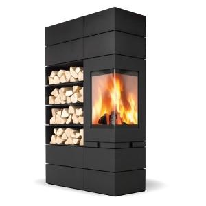 Drei Elemente, viele Gestaltungsmöglichkeiten: Mittels Magnettechnik lassen sich die Module ganz einfach um die Brennkammer arrangieren. Foto: skantherm wagner GmbH & Co. KG