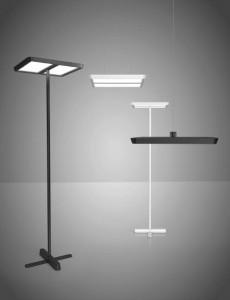 Die LED-Leuchtenfamilie Karo von Belux. Markantes und gemeinsames Merkmal der Tisch-, Steh- und Hängeleuchten ist der flache Kopf. Foto: BELUX AG