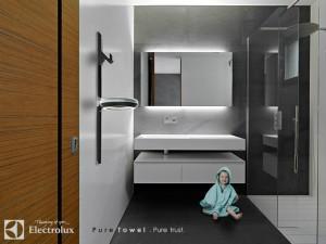 """""""PureTowel"""", ein Handtuchhalter mit Reinigungsfunktion von Leobardo Armenta. Foto: © Electrolux"""