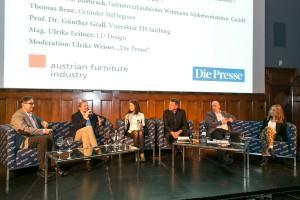 Designtalk im MAK mit den Experten Robert Bastirsch, Prof. Dr. Günther Grall, Ulrike Weiser, Dr. Georg Emprechtinger, Thomas Bene, Ulrike Leitner (v.l.n.r.). © Mirjam Reithe