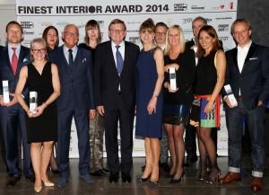 Siegerfoto: Die Preisträger der 14 Kategorien und der FINEST INTERIOR AWARDS. © Birgit Bielefeld, Frankfurt