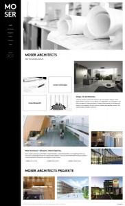 Info & Einblicke bietet die neue Webseite von MOSER ARCHITECTS. © 9dots