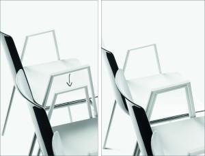 Lässig: Die Beine der Stühle werden übereinander gestapelt und dabei immer von links nach rechts verkettet. © Wiesner-Hager