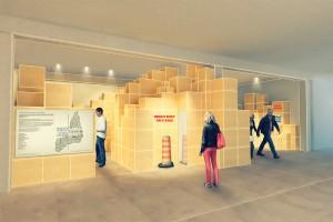 """Partnerstadt ist Montréal, die sich bei der Ausstellung """"ICH WAR DORT – MONTRÉAL MEETS GRAZ"""" präsentiert – das Rendering verspricht """"Designiges"""". © Sonya Ivanova"""