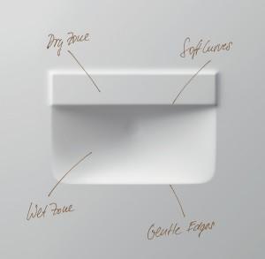 """Der Clou bei der Serie P3 Comforts: """"Nassbereich und Trockenbereich des Waschbeckens sind getrennt"""", so Phoenix Design. © Duravit"""