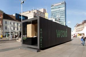 Die WOODBOX machte u.a. bereits in Zagreb Station. Ab 24. September öffnet sie in Wien ihre Türen. © Matej Dokic