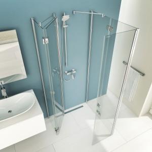 Dusche versteck' dich: Die Falttüren lassen sich dank TWIN-Scharnier in alle Richtungen wegklappen. © Artweger