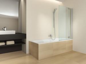 Neues Highlight: Für die Badewanne gibt es die Falt-Trennwände erstmals auch als Duschaufsatz. © Artweger