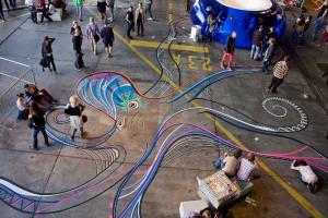 """Das Event lockt mit Design everywhere und Highlights wie der Installation """"Beautiful Break"""" der Berliner Tape-Art-Crew """"Tape Over"""". © Lia Mia/TAPE OVER"""