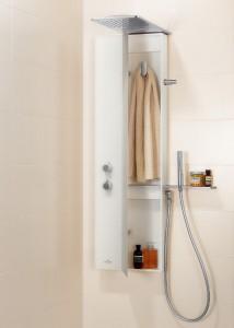 Ein Highlight ist der Duschbereich mit ausgezeichnetem Duschpaneel sowie spritzwassergeschützer Stauraum. © Villeroy & Boch