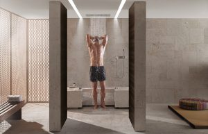 Stehend und sitzend entspannen ermöglicht Comfort Shower – und das mit verschiedenen Wellnessfeatures und Szenarien. © Thomas Popinger
