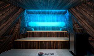 Leuchtende Aussichten: Im Sauna- und Wellnessbereich glänzt das Label mit RoHol SaunaPly und SPress Wänden. © RoHol/alpha wellness sensations