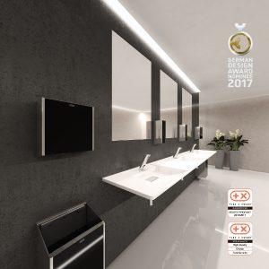 EXOS. von Franke GmbH ist nun auch Nominee für den German Design Award 2017. Die aufeinander abgestimmten Waschtische und Accessoires begeistern. © Franke GmbH