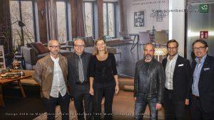 Kreative Köpfe: Designer Kai Stania, DI Stephan und Angelika Grünbeck, Harald Gründl von EOOS Design und Harald Schachinger, Director of Sales Walter Knoll (v.l.). © Stephan Grünbeck