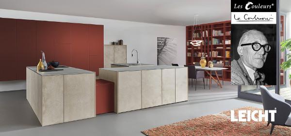 LEICHT bietet ausgewählte Farben aus Les Couleurs® Le Corbusier. Premiere ist auf der LivingKitchen 2017, bei der die gesamte Standinszenierung dem Thema gewidmet ist. © Visualisierung: LEICHT