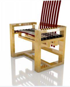 Holz, Design und Komfort stecken in den Sesseln, die individuell gestaltet werden können und in verschiedenen Varianten wie Gold glänzen. © Holzloft